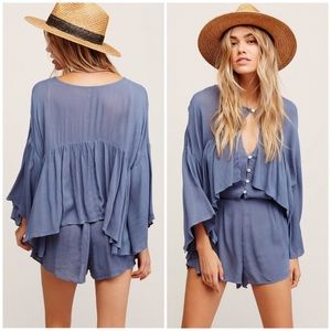 Free People Romper (She's a Vision)- Blue, Medium